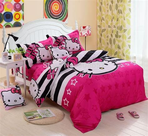Seprei Bed Cover Hello White Black best new black magenta hello printing comforters set single king size bed