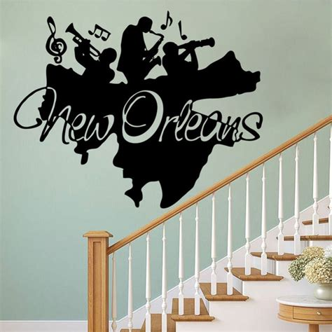 home decor wall posters creative new orleans wall mural sticker jazz band wall