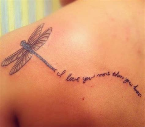 love you more tattoo i you more than you grow dragonfly on left