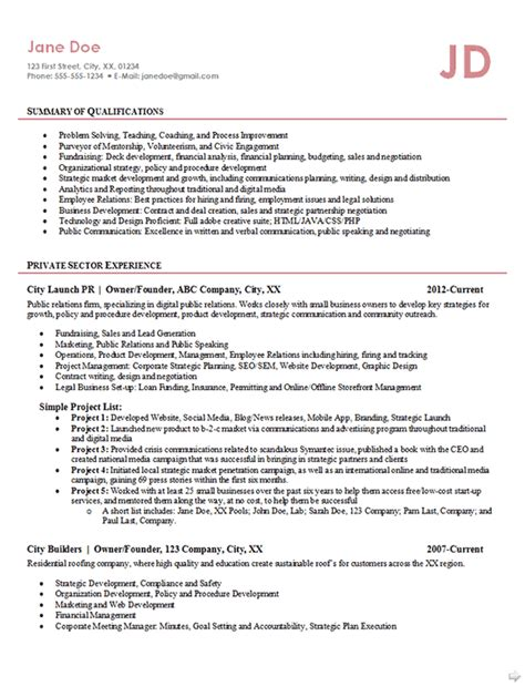 entrepreneur resume exle business owner founder relations