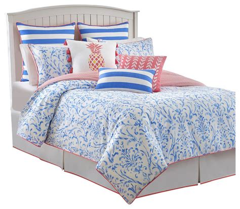 southern tide coastal ikat twin cool water blue comforter