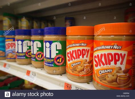What Is The Shelf Of Peanut by Jars Of Skippy And Jif Peanut Butter Are Seen On A Supermarket Shelf Stock Photo Royalty Free