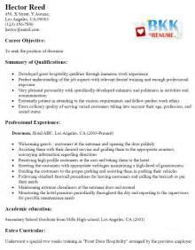 doorman resume sle free resume templates