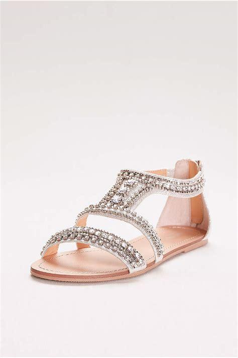 Flat Embellished Wedding Shoes by Embellished Peep Toe Flats David S Bridal