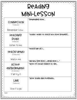 readers workshop lesson plan template reading mini lesson template other reading workshop