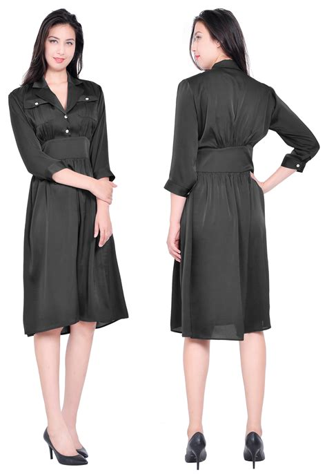 3 4 Sleeve Collared Dress crafts womens office business suit shirt dress