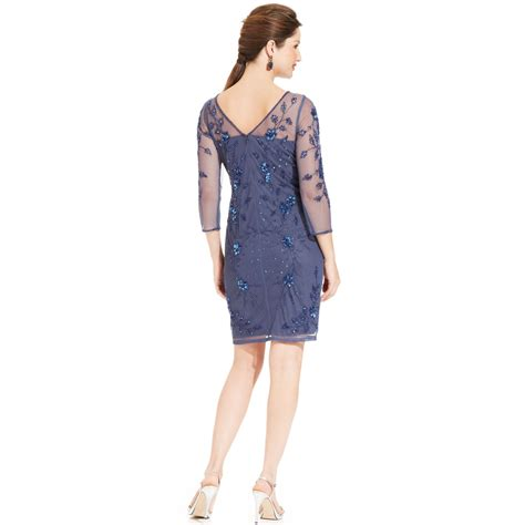 patra three quarter sleeve beaded illusion dress in blue