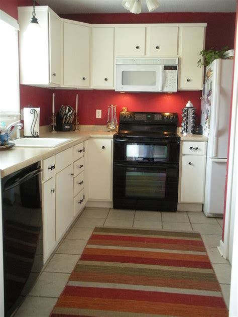 red wall kitchen ideas painting my kitchen red on two opposite walls the