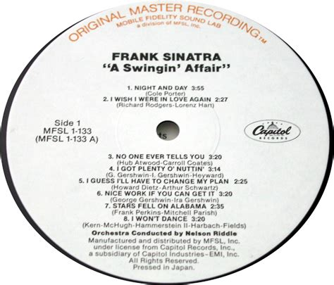 a swinging affair frank sinatra a swingin affair japan mfsl limited