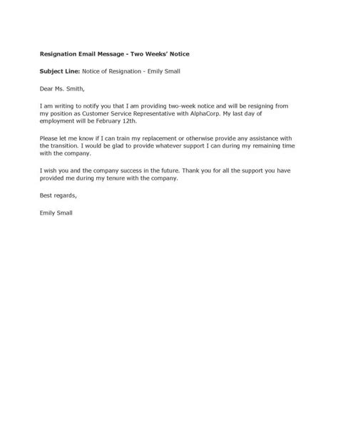 resignation letter format email message resignation letters 2 weeks notice notification support