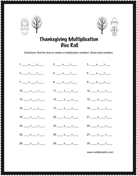 printable turkey multiplication thanksgiving multiplication worksheets worksheets