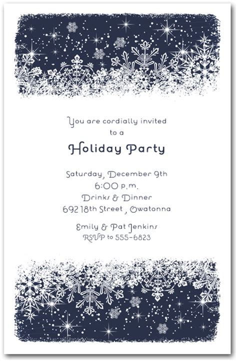 midnight snowflakes holiday invitations