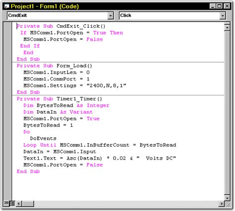 simple visual basic program serial voltmeter