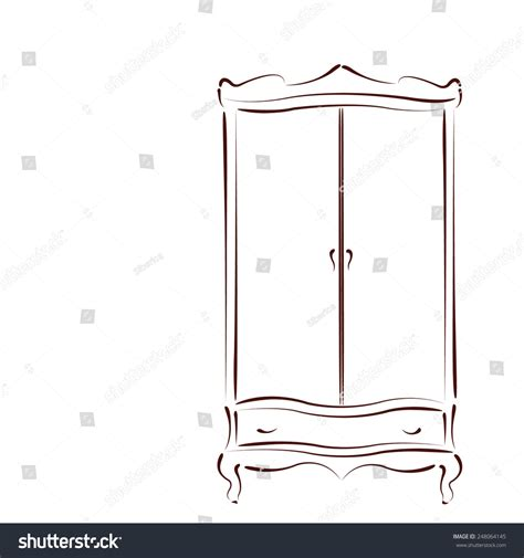 sketched vintage wardrobe closet isolated on stock vector