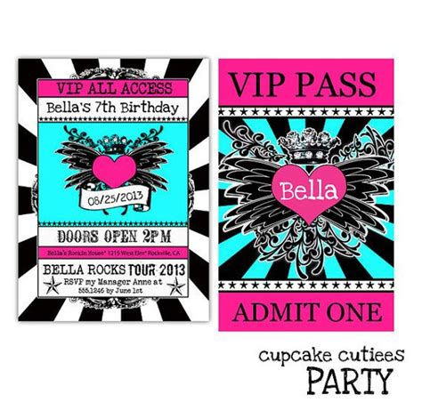 vip pass invitation template rock royalty teal and blue bw vip lanyard badge