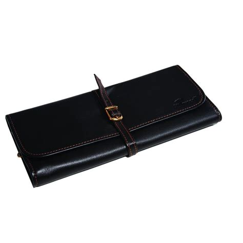 Leather Roll black leather jewellery roll hillwood