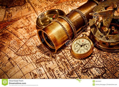 vintage items vintage items on ancient map stock image image of