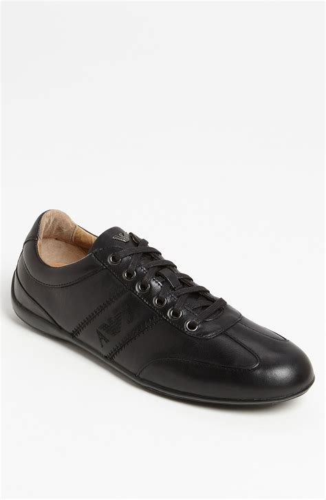 armani sneakers mens armani leather sneaker in black for lyst