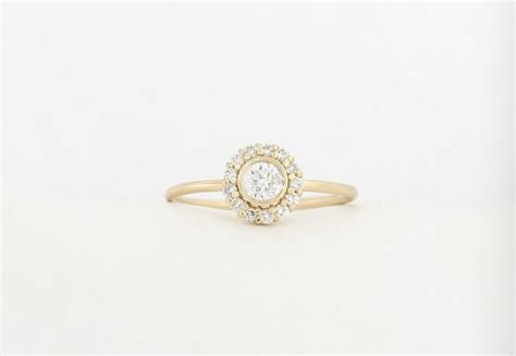 Yellow Gold Halo Engagement Rings Brilliant And 14k yellow gold halo set engagement ring brilliant