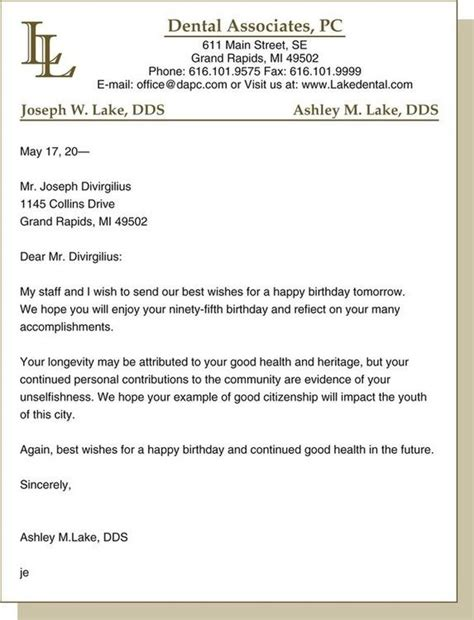 Official Letter Birthday Wishes Written Communications Pocket Dentistry