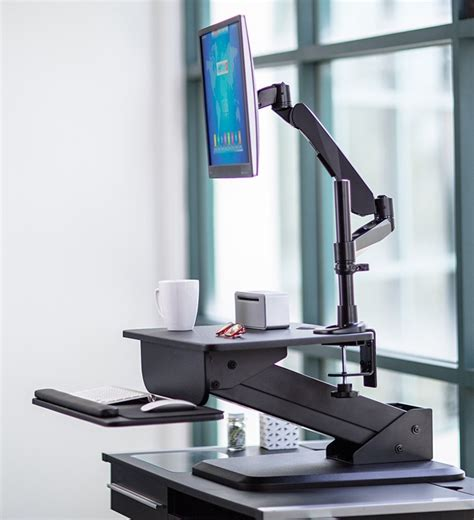 sit stand desk converter and height adjustable monitor