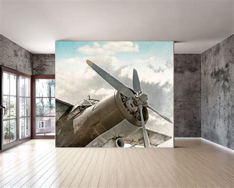 airplane wall murals wall mural vintage airplane wall paper repositionable