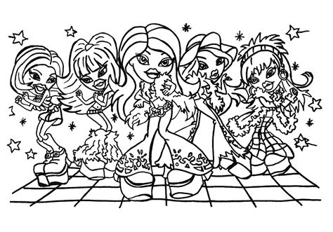 coloring pages printable free printable bratz coloring pages for