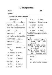 english worksheets grade 4 test
