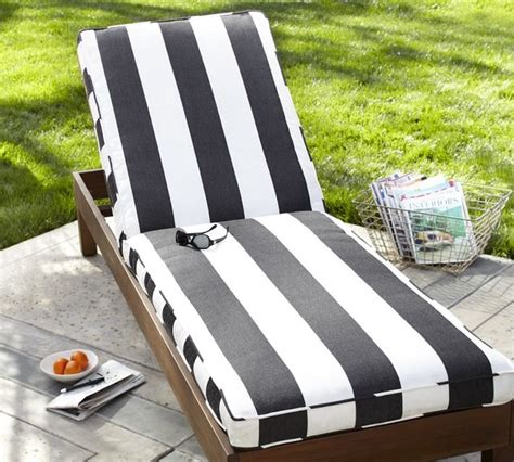 black and white chaise lounge cushions chaise cushion black white stripe sunbrella modern