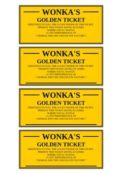 Golden Ticket Editable By Shawn Snyder Teachers Pay Teachers Free Golden Ticket Template Editable