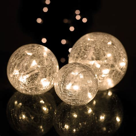 Parlane Set Of 3 Glass Crackle Ball Lights White Iwoot Lights Balls