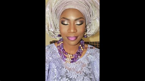 bridal gele on the you tube nigerian bridal makeup with aso oke gele gold glitter
