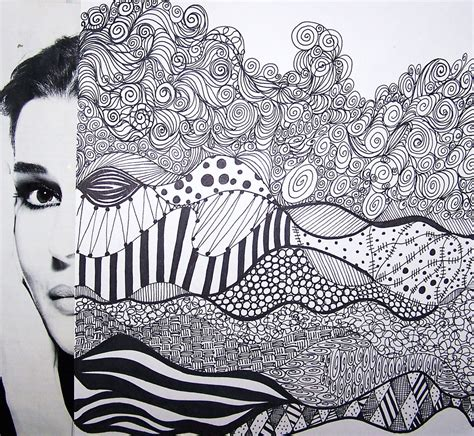 hair pattern drawing abstract faces landscape ish karol ann flickr