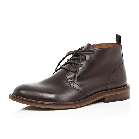 river island brown leather lace up boots in brown for