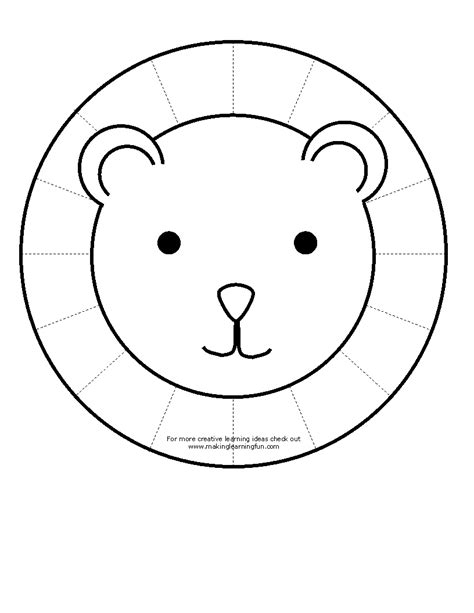 coloring page lion face cutting skills color lion cut out lion and then cut