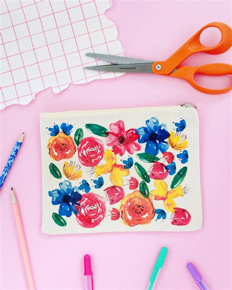 Floral Print Pencil Pouch diy watercolor floral pencil pouch