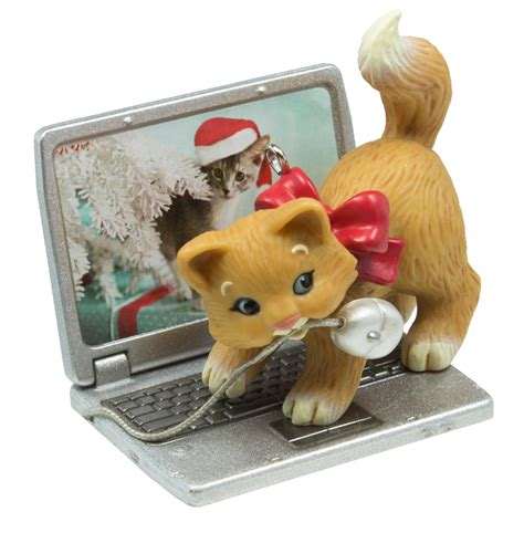 hallmark cat ornaments hallmark keepsake 2016 mischievous kittens computer mouse ornament ebay