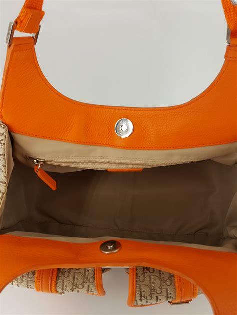 Diorissimo Metalic Bag Like Ori 9416 quot diorissimo quot shoulder bag in orange and logo fabric for sale at 1stdibs