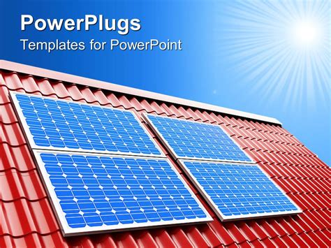 Powerpoint Template Blue Solar Panels On Red Roof On A Sunny Light Blue Sky Background 26763 Solar Panel Powerpoint Template
