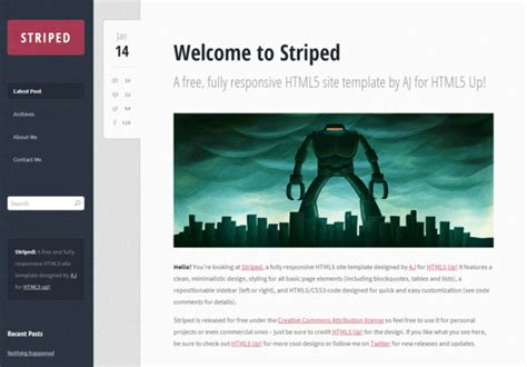 simple html5 templates free free html5 website template of the week striped
