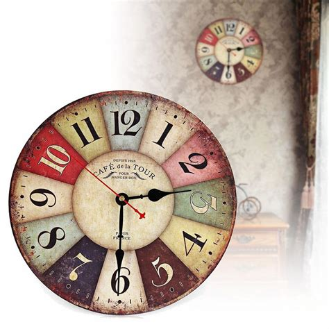 vintage wooden wall clock shabby chic rustic retro kitchen