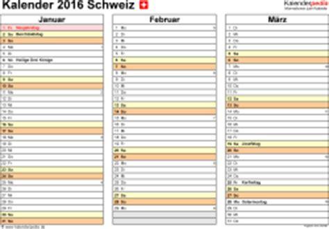 Vierteljahres Kalender 2016 Kalender 2016 Schweiz In Excel Zum Ausdrucken