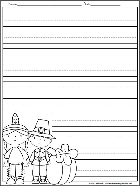 thanksgiving writing template  kindergarten