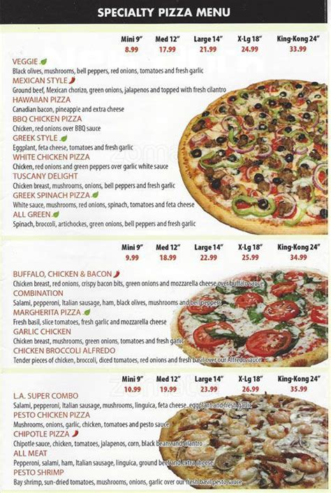 Table Pizza Menu Prices by Table Pizza Menu Menu For Table Pizza San