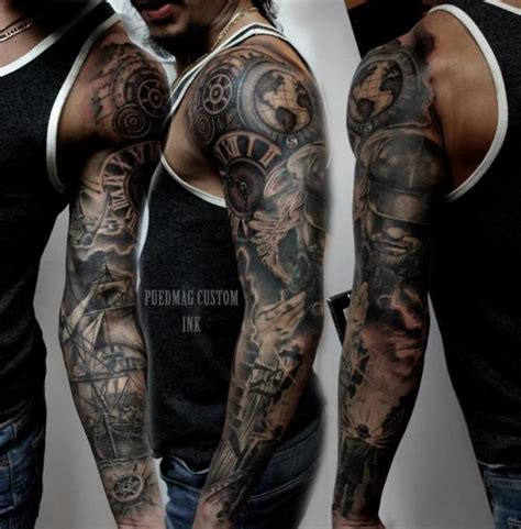 gear tattoo sleeve gear realistic galleon sleeve by puedmag custom ink