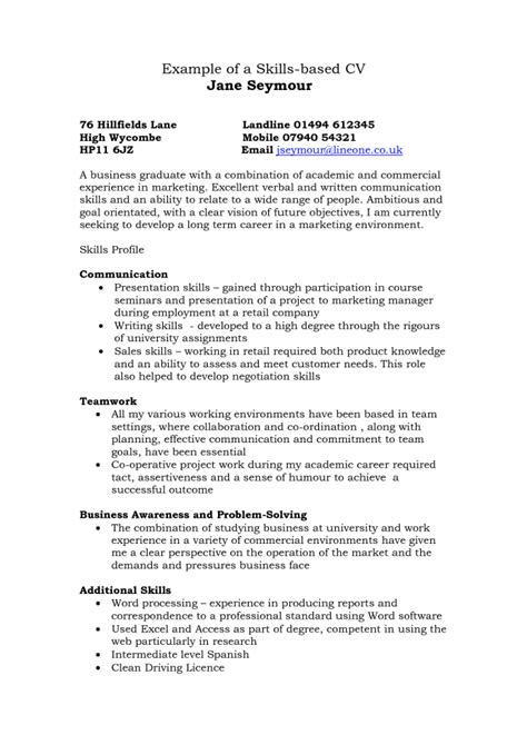 Relevant Skills For Resume by Skills Resume Sles Cover Letter Sles Cover