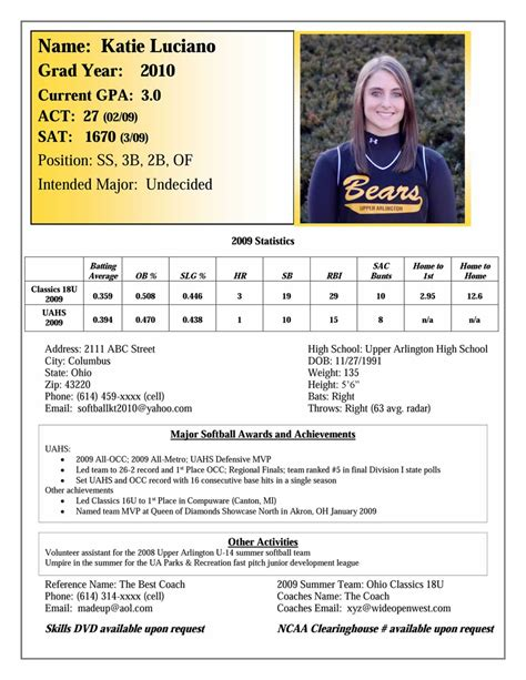 softball player profile template recruiting the ohio express softball team