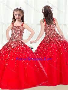 2016 cute ball gown straps beading red little pageant