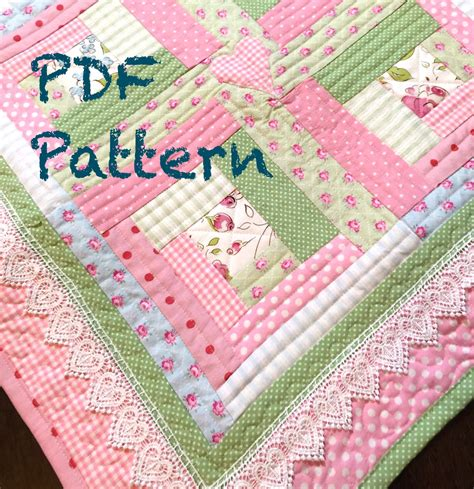 pattern for log cabin heart quilt chic baby girl quilt pattern modern log by christinejdesigns