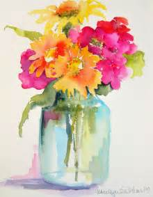 water color flowers pink orange yellow flowers in jar vase